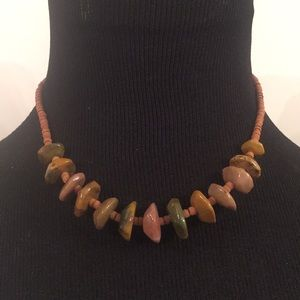 Vintage Wood and Stone Necklace